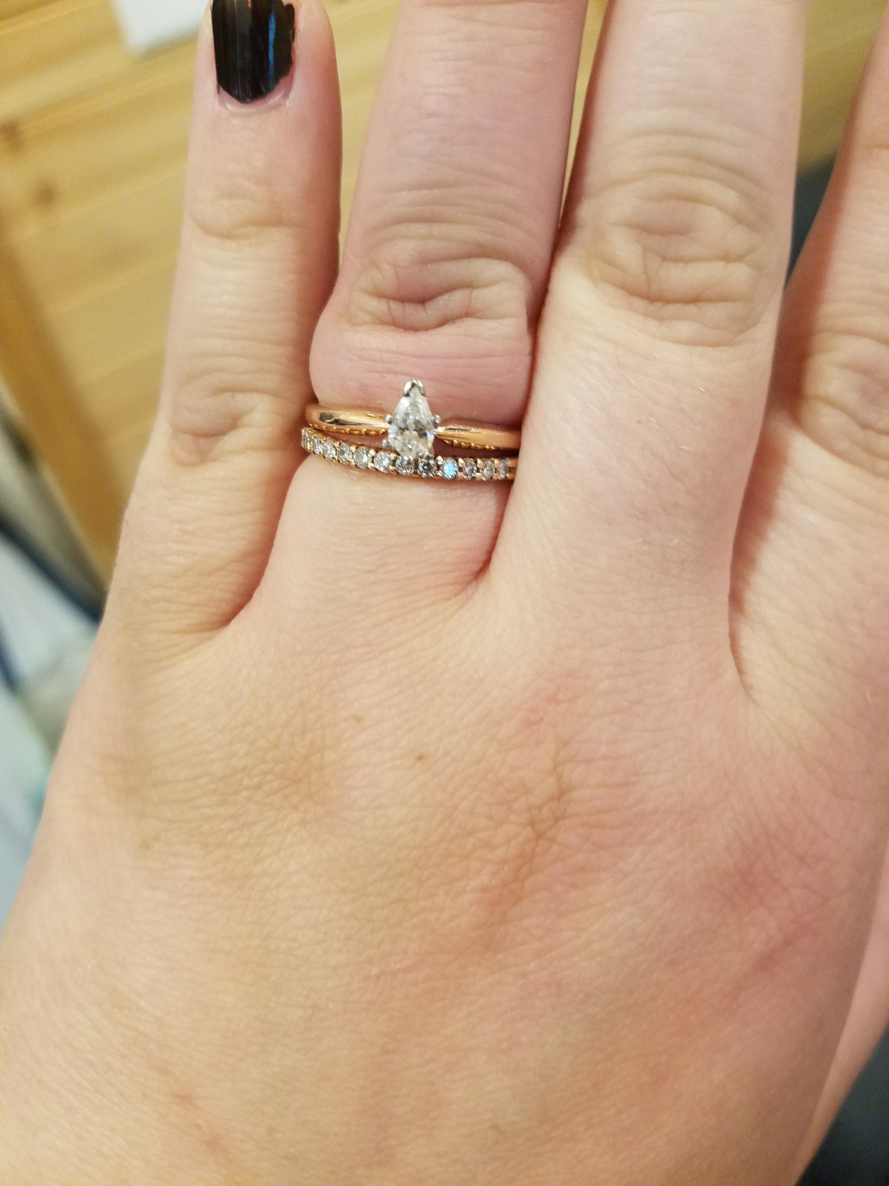 Engagement Ring And Wedding Band.Solitaire Pear Engagement Ring And Wedding Band