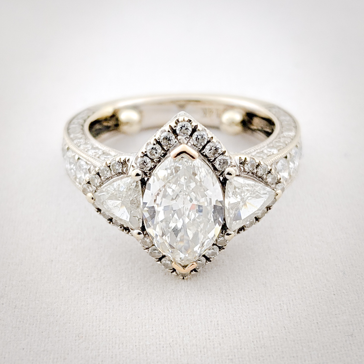 Marquise Diamond Engagement Ring With Side Stones I Do