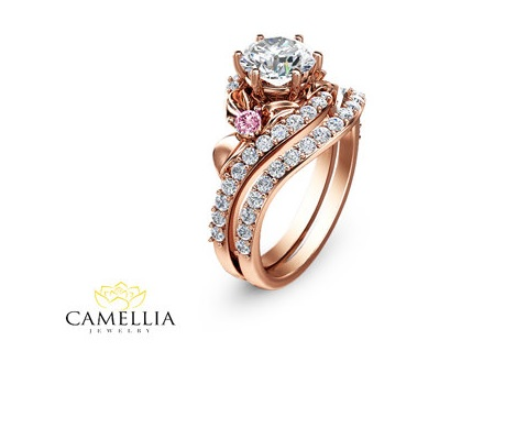 Custom Rose Gold 18k Engagement Ring Unique And One Of A Kind Design