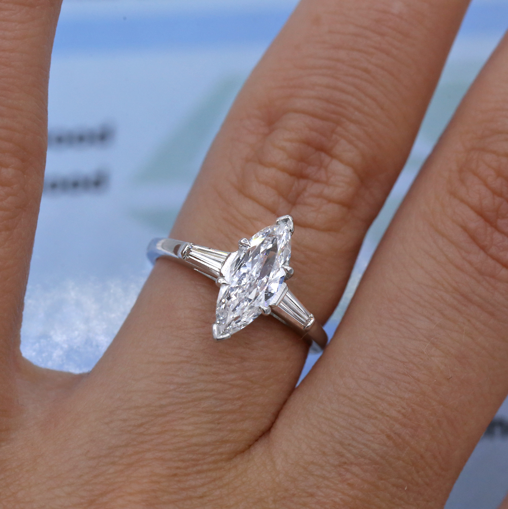 Platinum Marquise Diamond Engagement