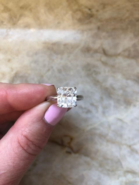 3 41 Elongated Cushion Cut Solitaire Engagement Ring I Do Now I Don T