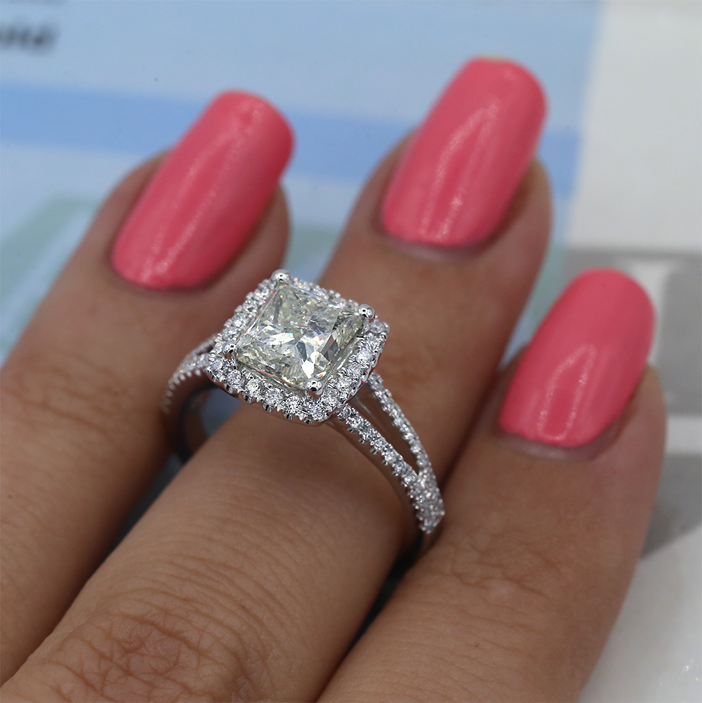 Sold 18k White Gold Halo Princess Cut Diamond Engagement Ring With 2 80ct Total Diamonds I Do Now I Don T