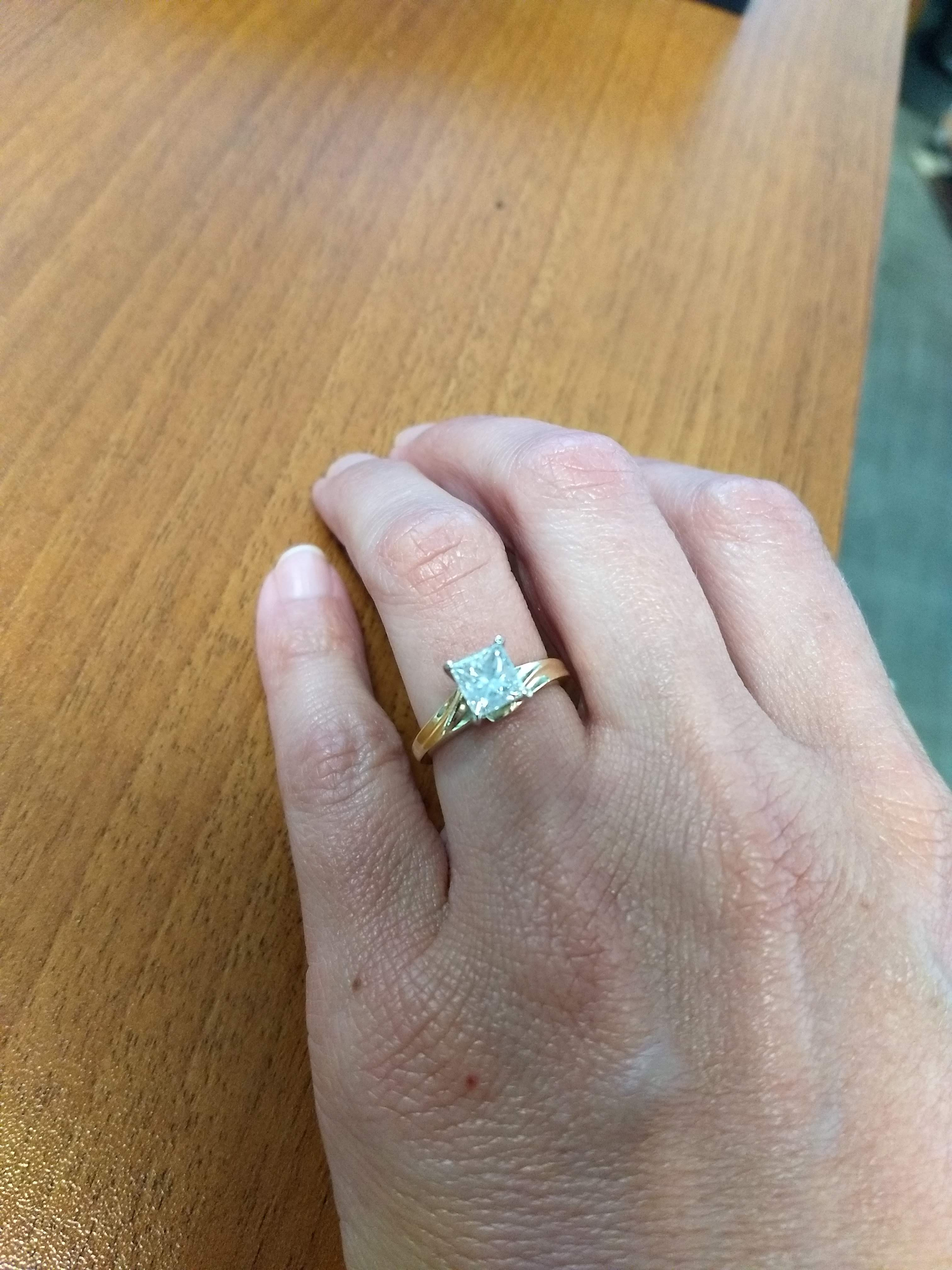 1 22 Ct Princess Cut Diamond Engagement Ring In Yellow Gold I Do Now I Don T