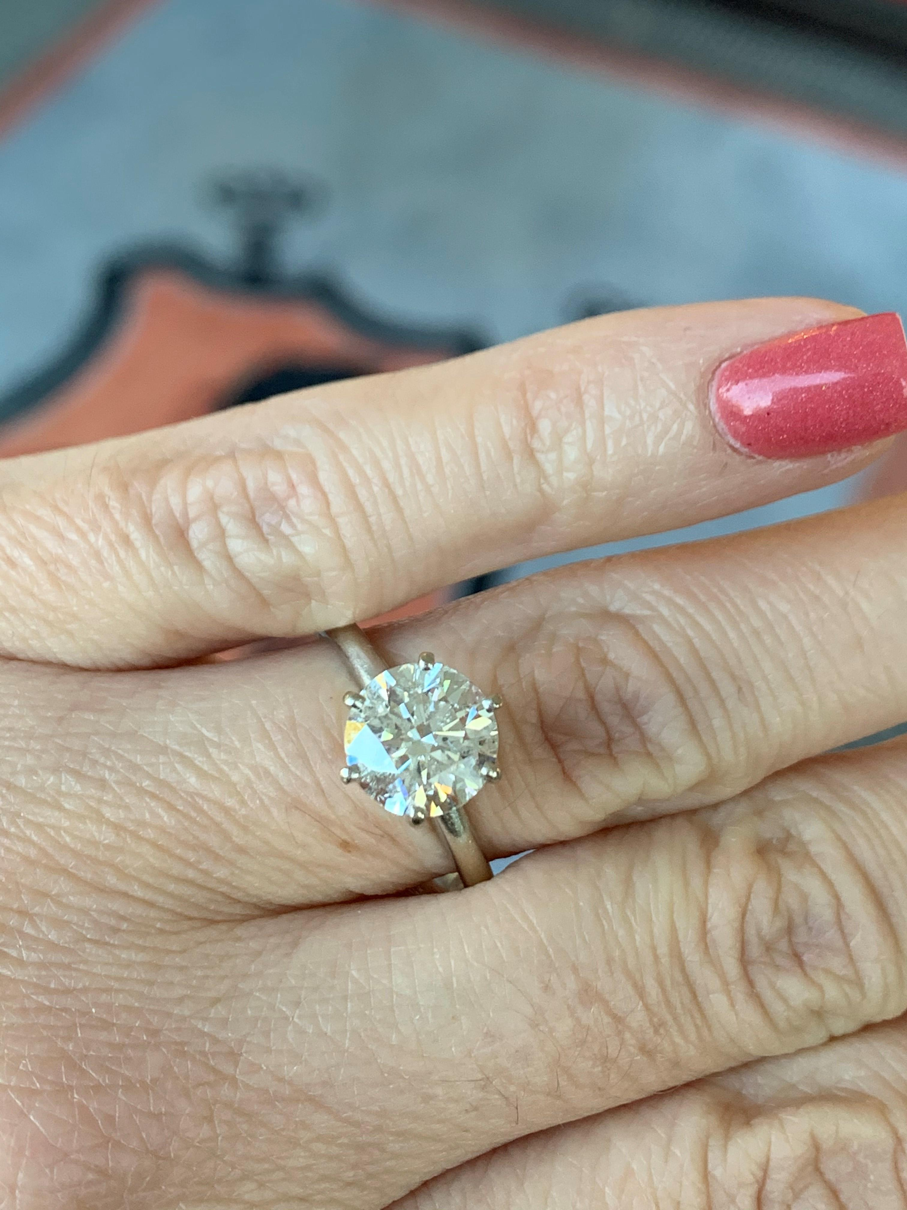 Tiffany Style 2 Carat Round Diamond Solitaire Engagement Ring Set In 14k White Gold I Do Now I Don T
