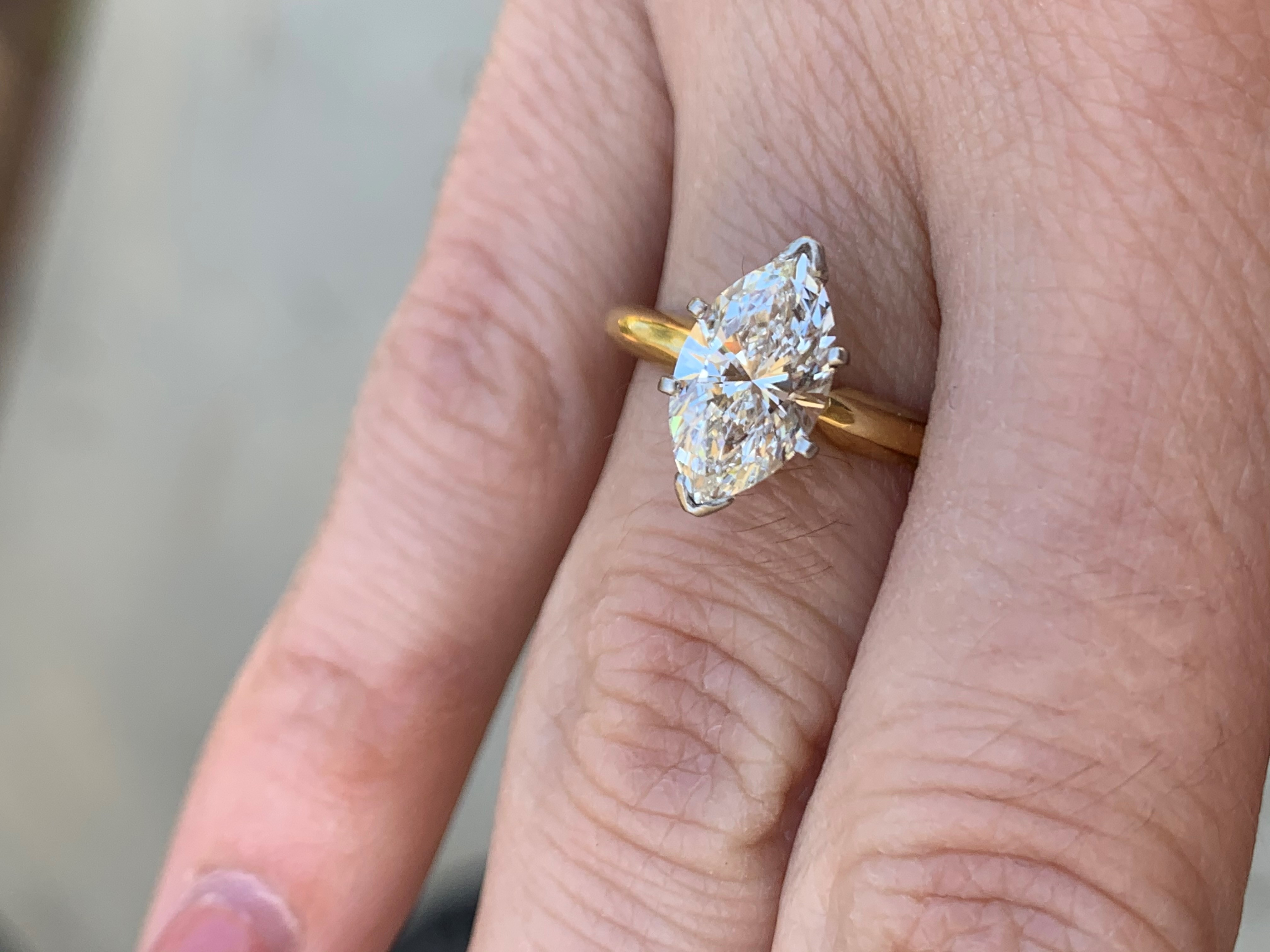 Rare 19 265 Leo Marquise Diamond Solitaire Engagement Ring 1 54 Carats Vs2 G With Platinum Head Size 5 I Do Now I Don T