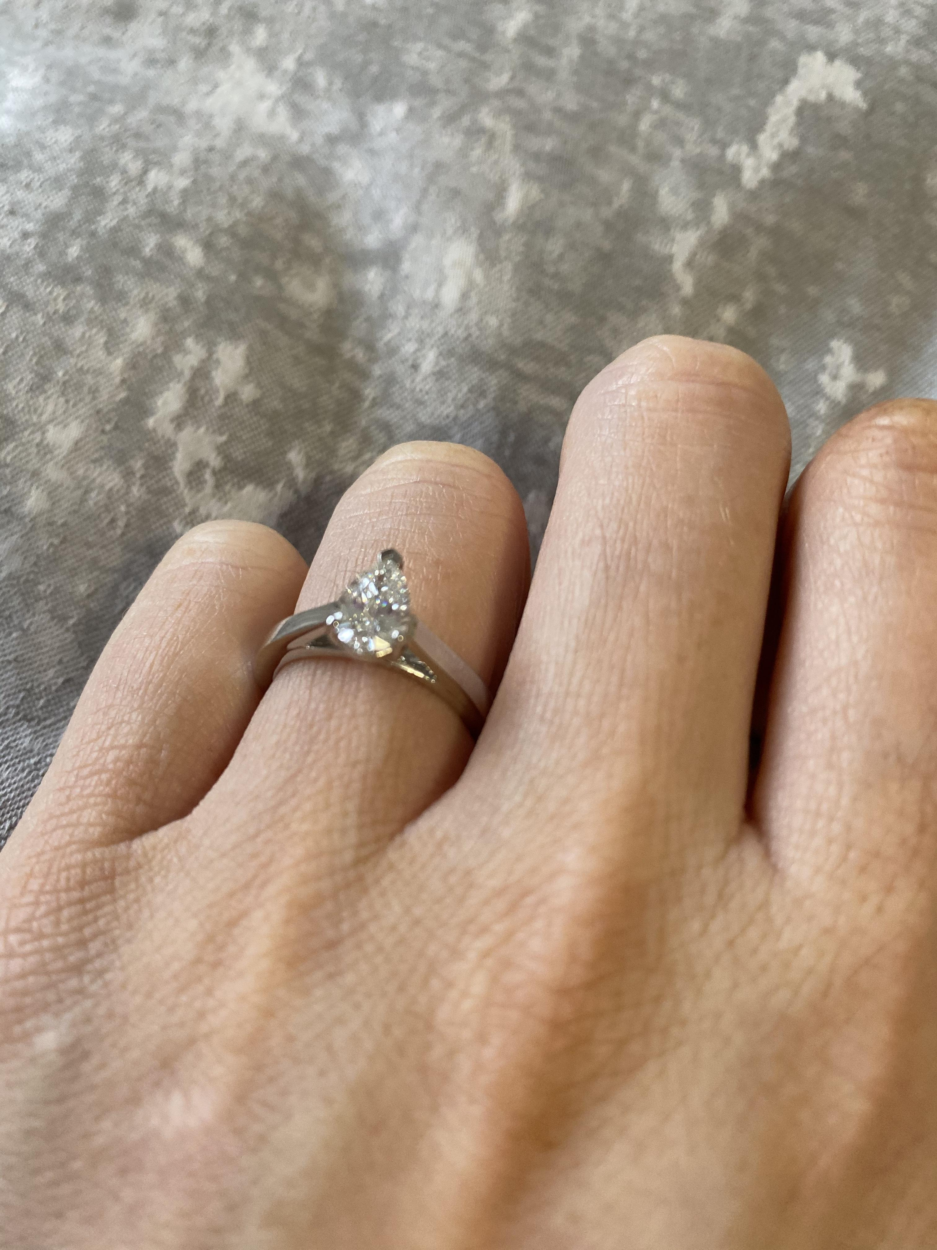 Pear shaped diamond engagement