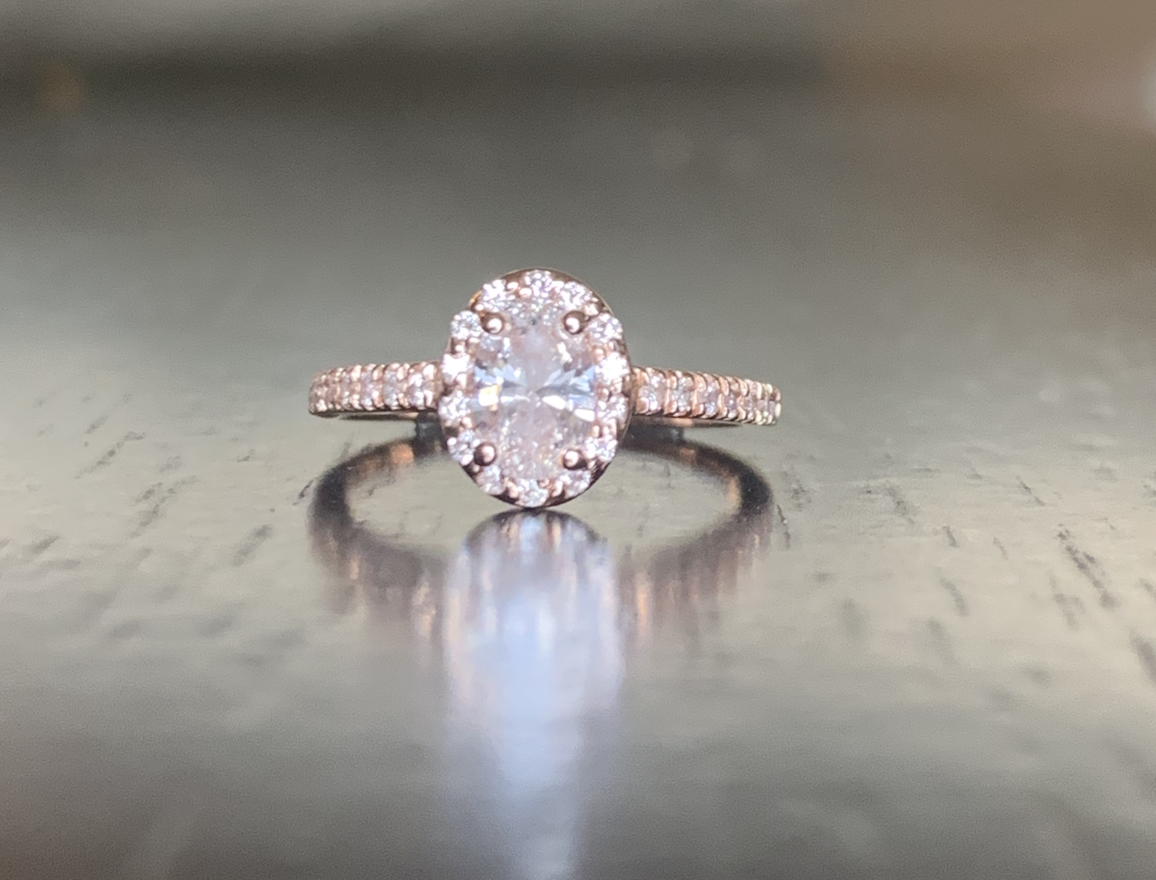 Rose Gold Oval Halo Engagement Ring I Do Now I Don T