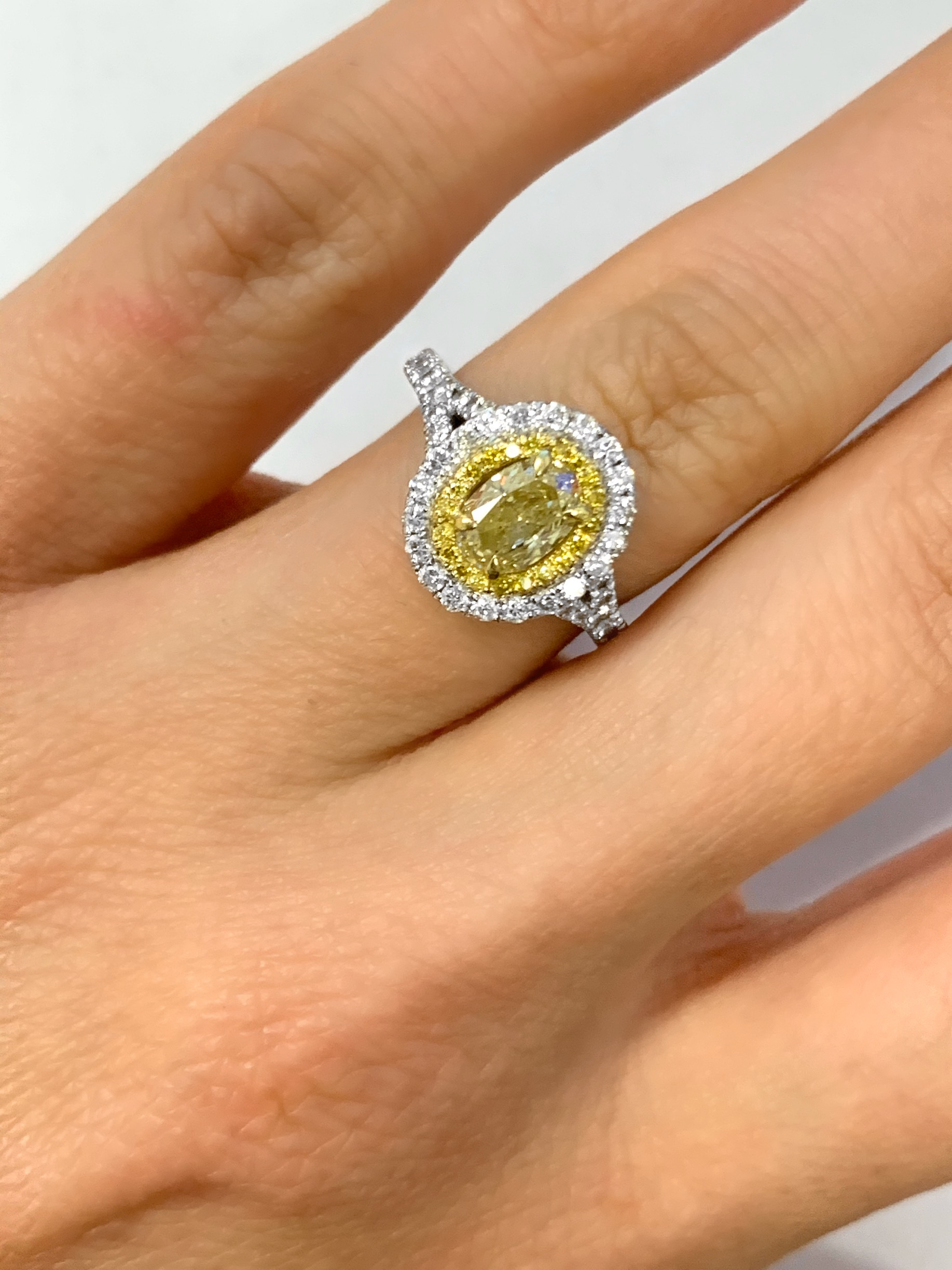 0 85ct Oval Fancy Light Yellow Diamond Engagement Ring I Do Now I Don T