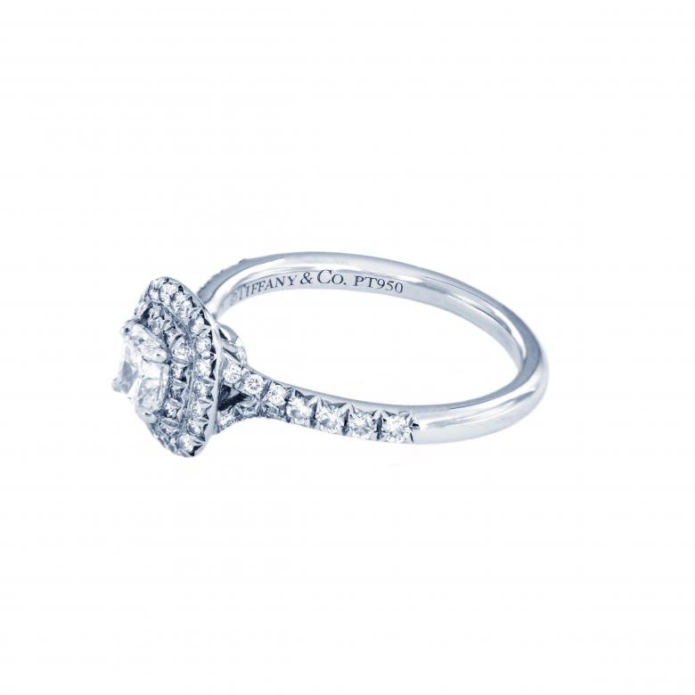 Tiffany Soleste Cushion Cut Double Halo Engagement Ring With A Diamond Platinum Band I Do Now I Don T