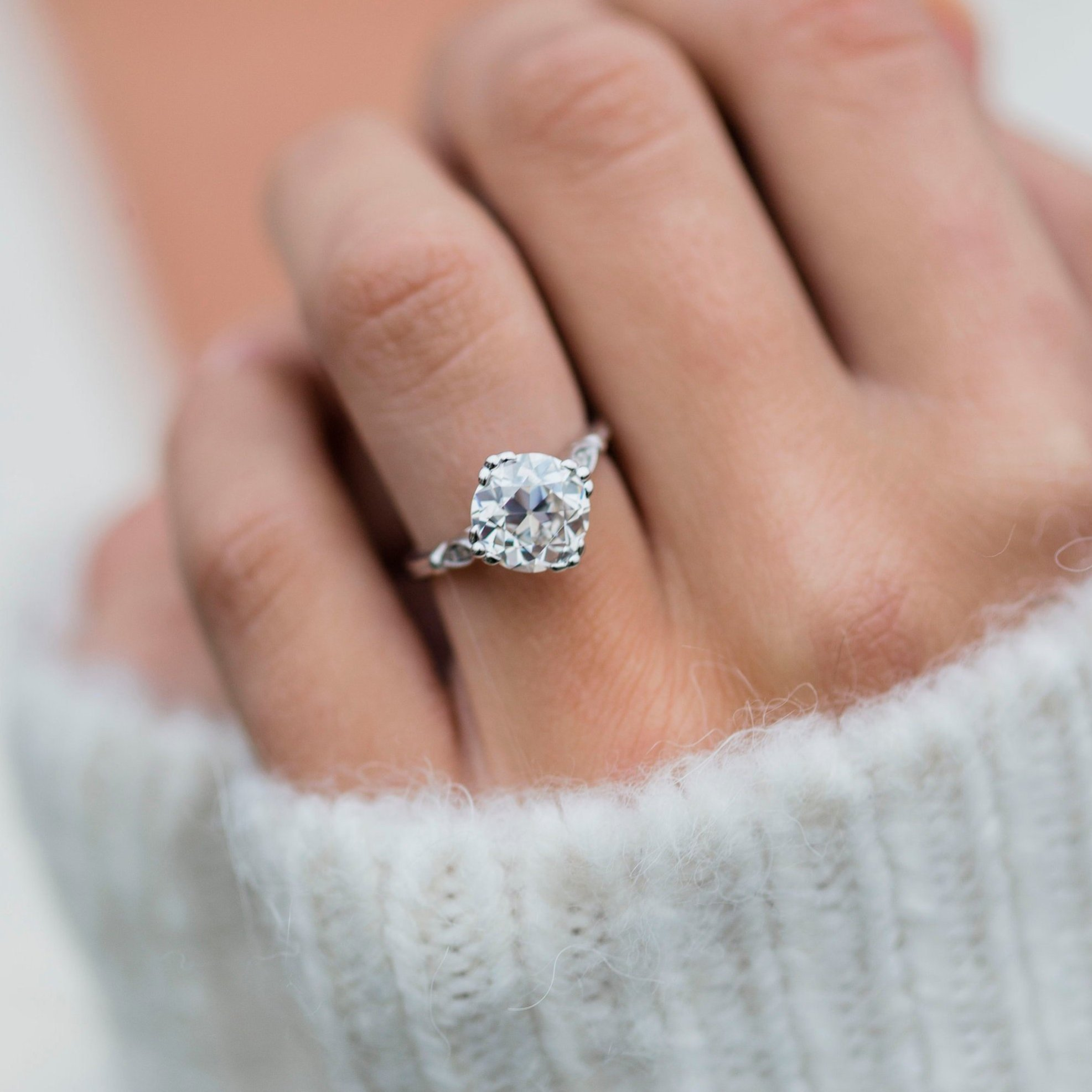 Custom made 2.5 carat old mine cushion cut moissanite engagement ring | I  Do Now I Don't