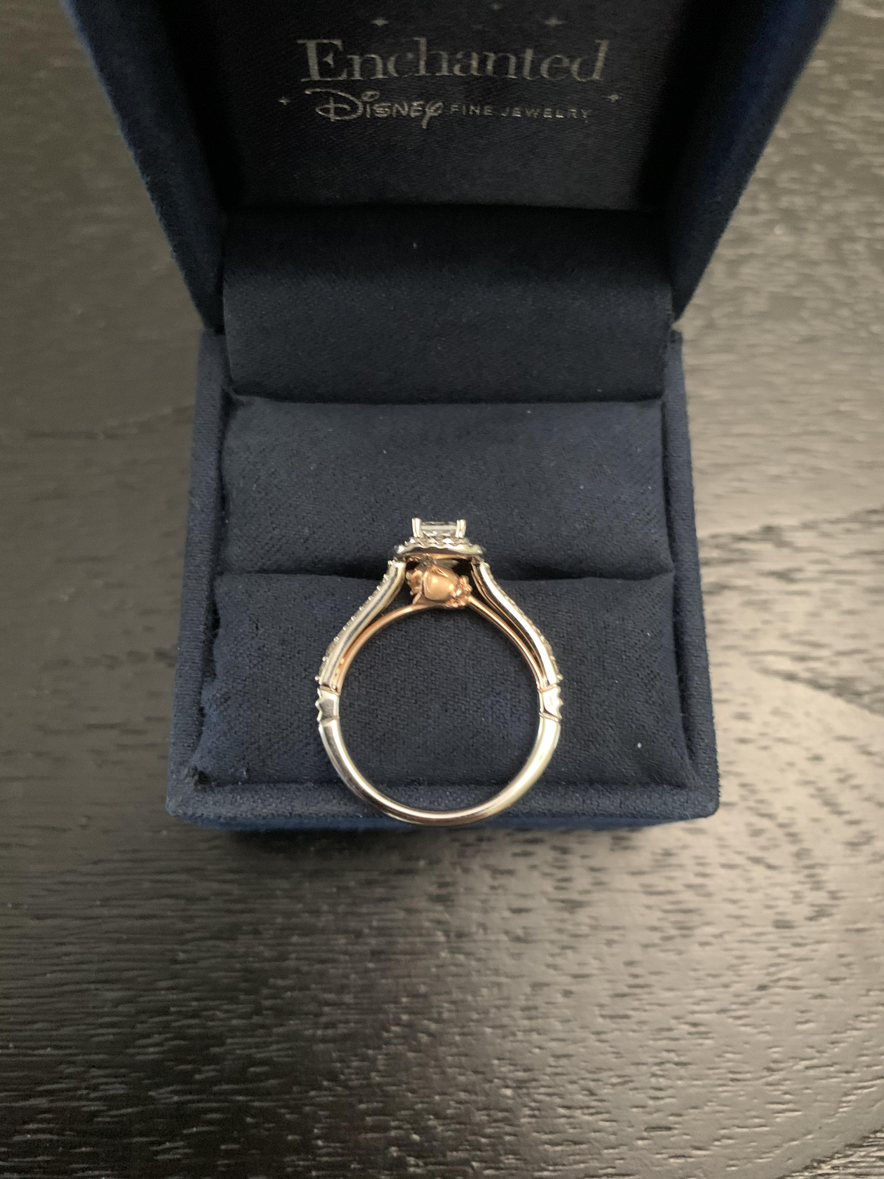Zales Enchanted Disney Belle 3 4 Ct T W Princess Cut Diamond Double Frame Rose Engagement Ring I Do Now I Don T
