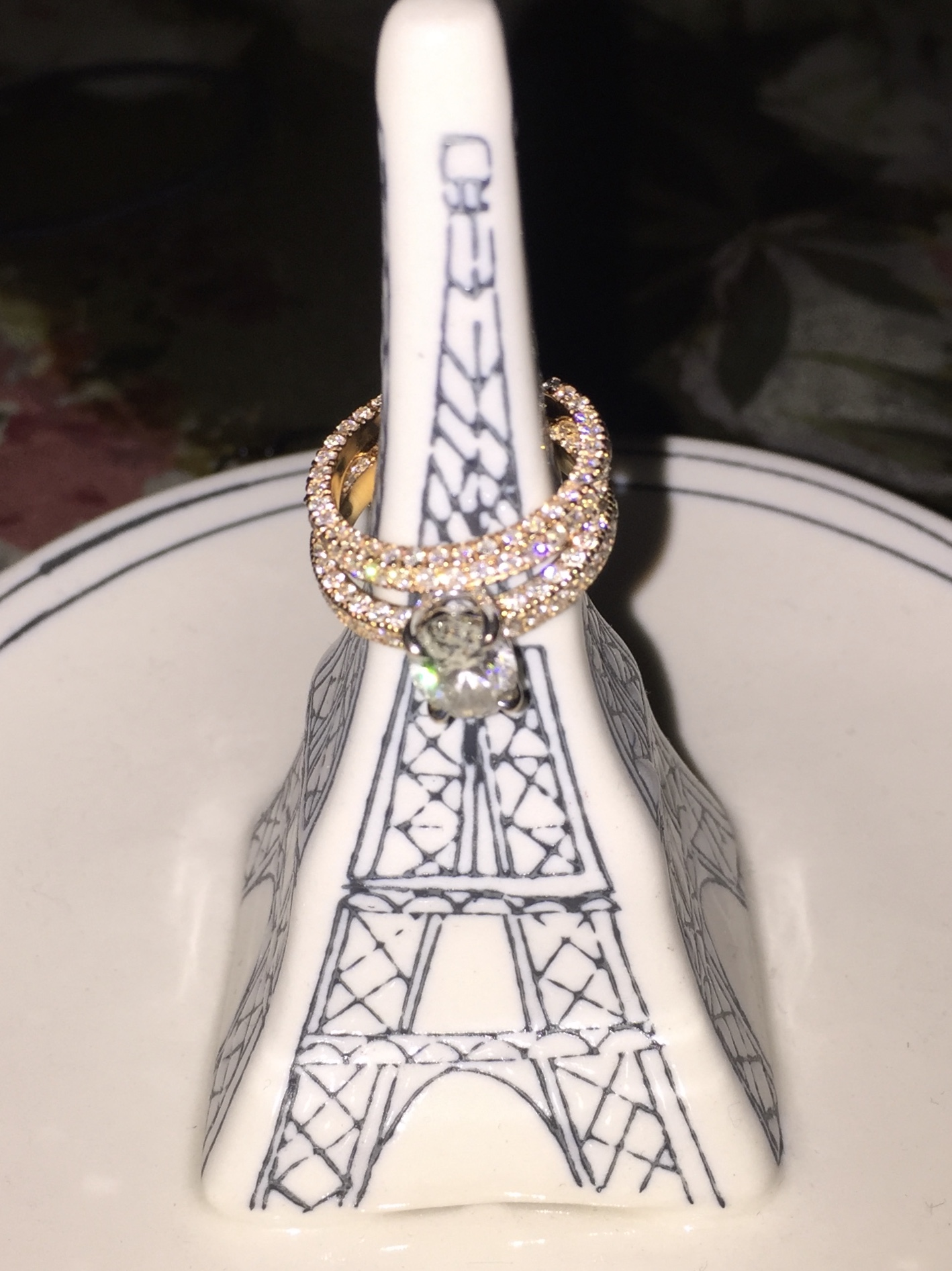 Oval Diamond and Rose