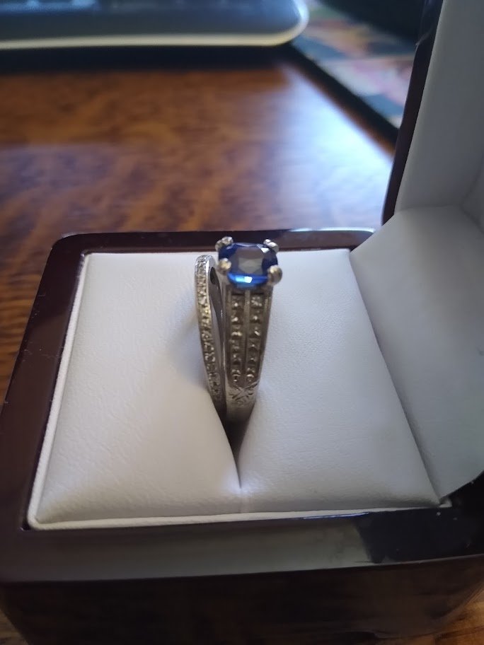 sapphire with diamond accents