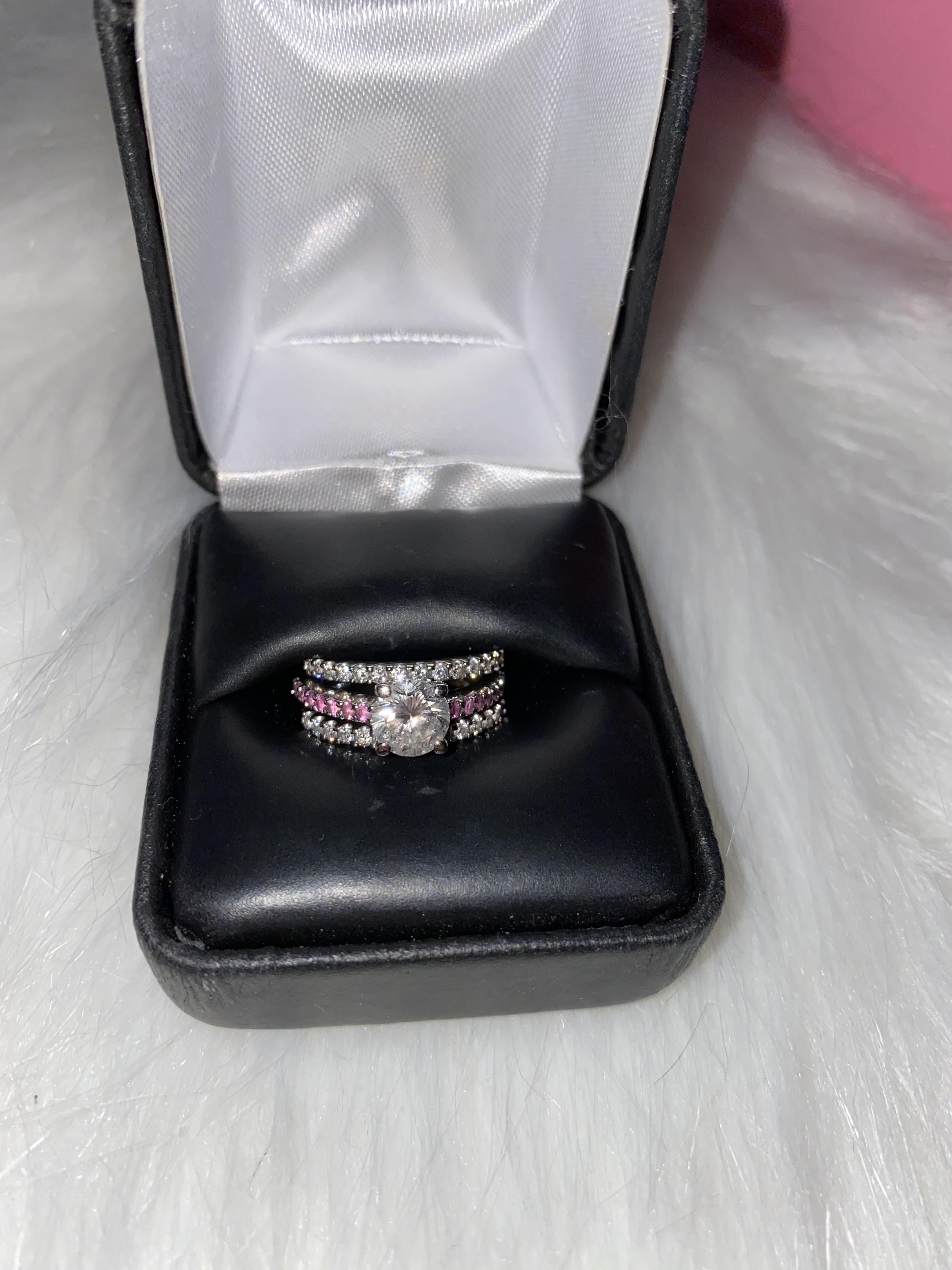 Engagement ring with pink