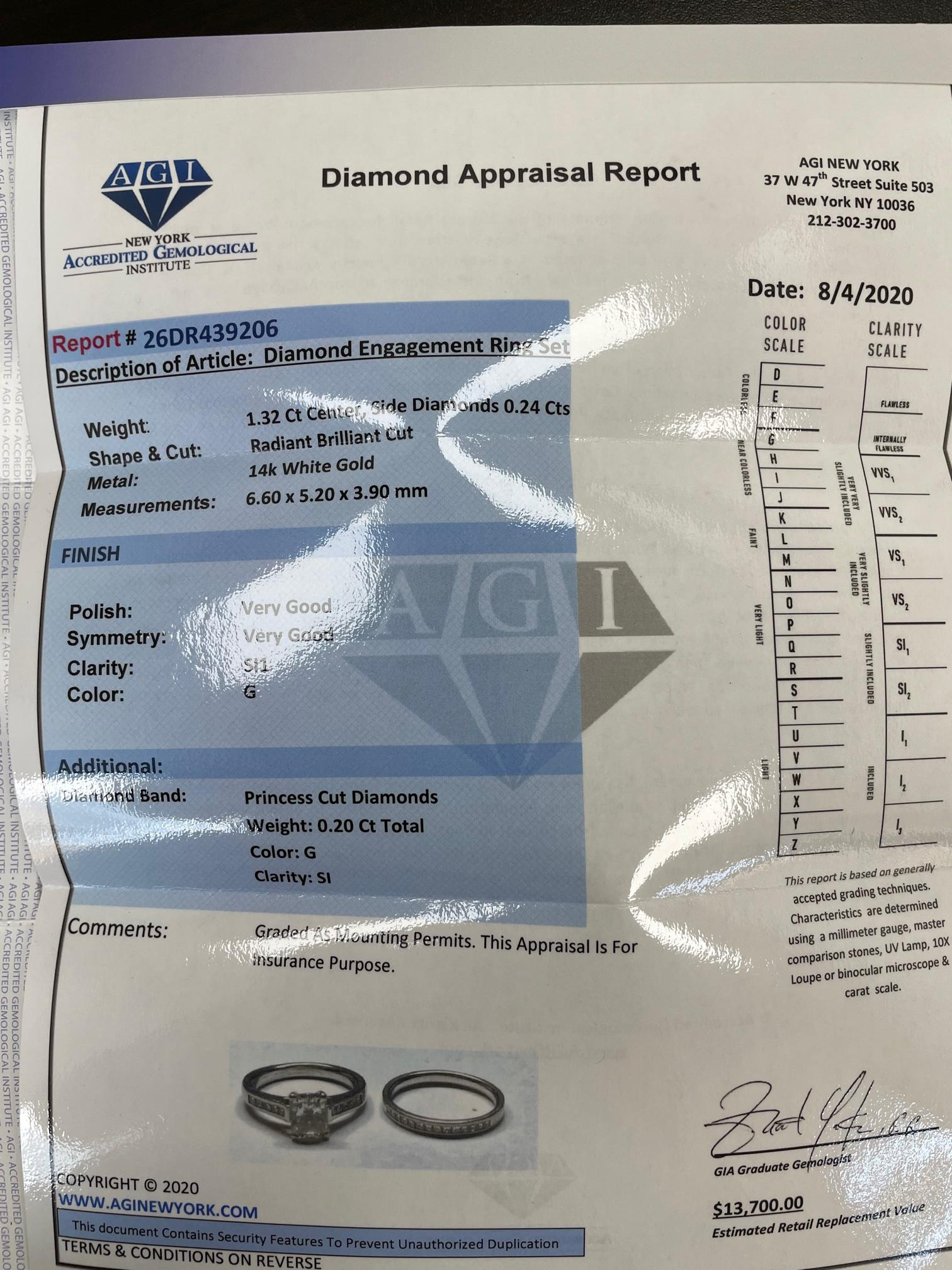 1.76ct Certified G-SI1 Radiant