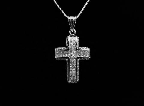 18K White Gold Cross