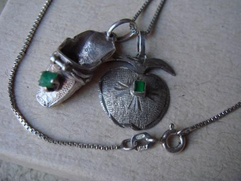 Emerald Silver Charms Necklace