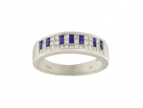 14k White Gold Diamond&Blue