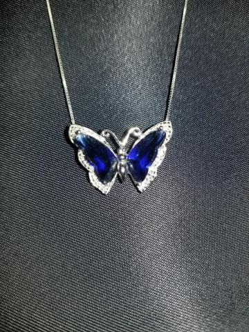 Sapphire butterfly necklace