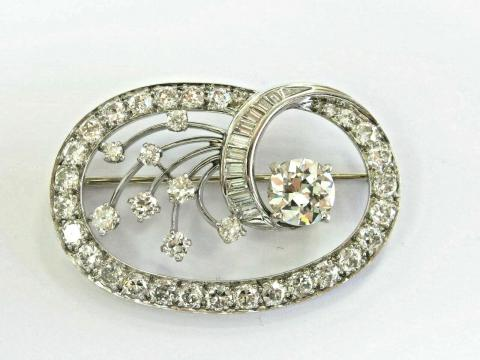 06a5a54be Vintage Old European & Baguette Diamond White Gold Pin/Brooch 5.55Ct ...
