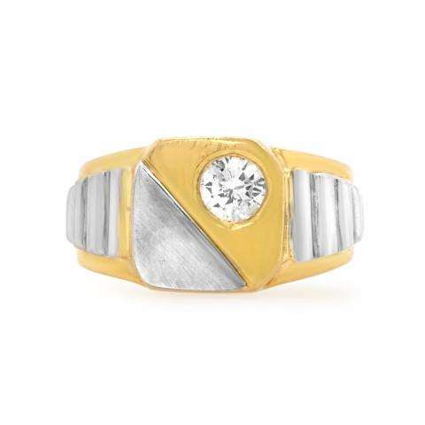 18K Two-Tone Gold Solitaire