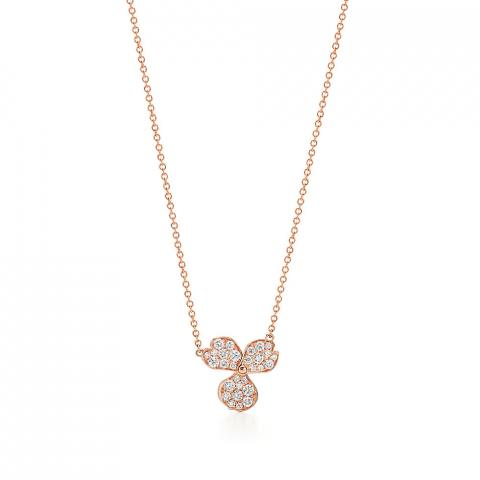 Tiffany Co Paper Flowers Pave Diamond Flower Pendant