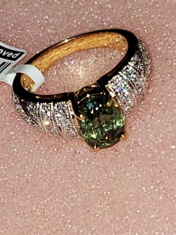 18K2T Demantoid Diamond Ring