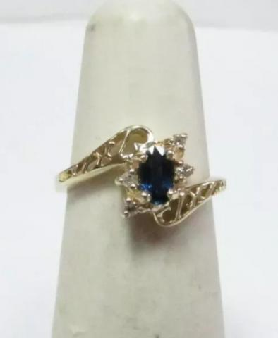 14K Yellow Gold Blue