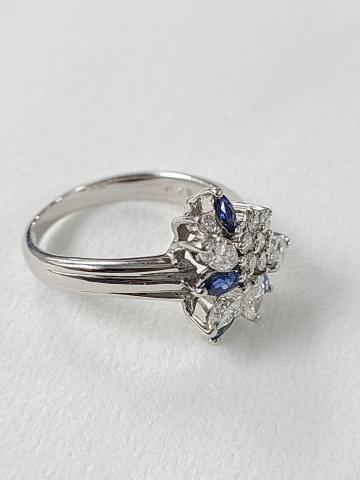 Blue sapphire and diamond
