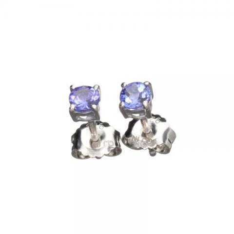 Silver Tanzanite Solitaire Earrings