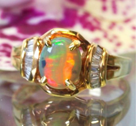 Black Opal Ring with
