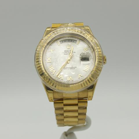 Mens Rolex Day Date Ii 18k Yellow Gold W Silver Roman Dial 218238