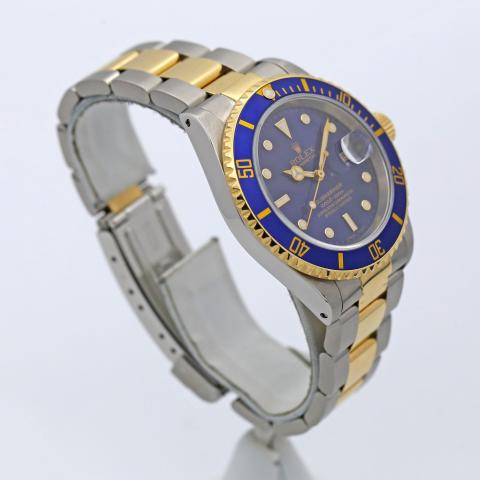 Mens Rolex Submariner Date Two Tone 18k Yellow Gold \u0026 SS w/ Blue Dial 16613