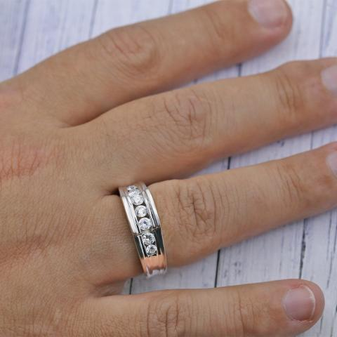 Mens Wedding Bands With Diamonds.Stylish Mens Wedding Band With Channel Set Round Diamonds Crafted In White Gold