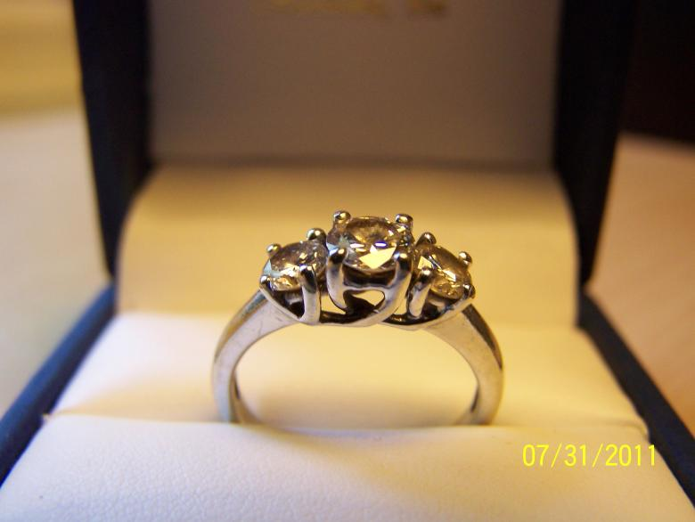 3 Diamond Engagement Past Present Future Ring 14kt White