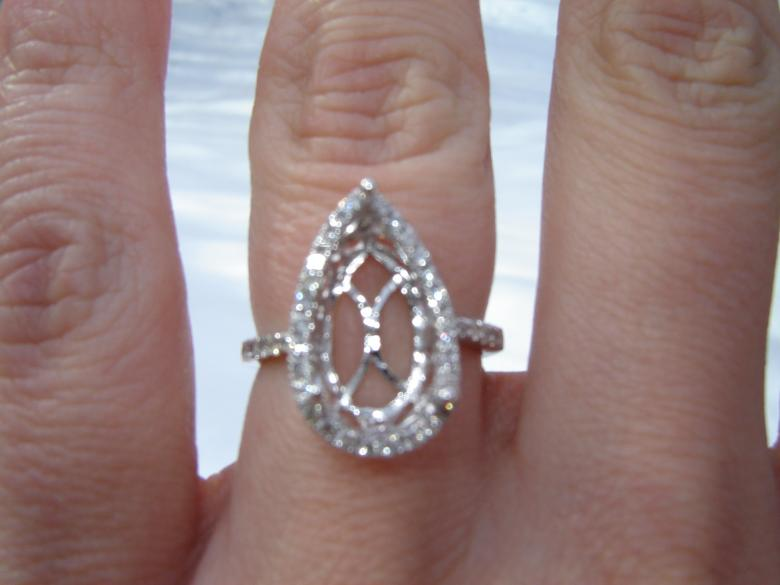3 09 Carat Pear Shaped Diamond Engagement Wedding Ring with Pave Halo Center