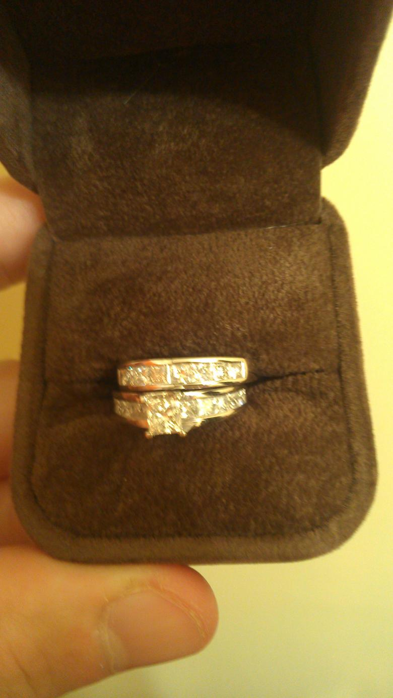 Fire Over Ice 14k White Gold Diamond Engagement Ring And Wedding Band Along With Male Tungston