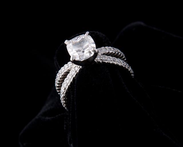 non cable gold cathedral in roped prong platinum four solitaire engagement pave ring brilliant enr a basket white round carat rings