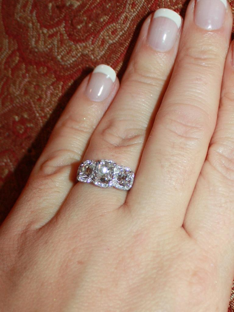 Reduced Henri Daussi Three Stone Cushion Cut Pave Set Diamond Setting W Halo 2 02 Tw