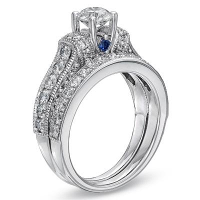 Charmant Vera Wang Love Collection 2 CT T.W. Bridal Set 14K White Gold | I Do Now I  Donu0027t