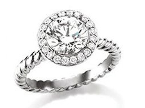 David Yurman Platinum Diamond Engagement Ring DY CAPRI