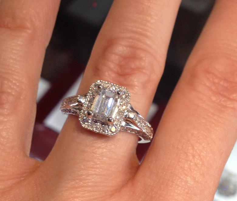 Vintage Inspired 104 Carat Emerald Cut Engagement Ring