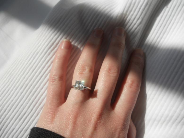 Perfect 2.5 Carat Asscher Cut Natural Diamond Solitaire Ring- Classic and  QC62