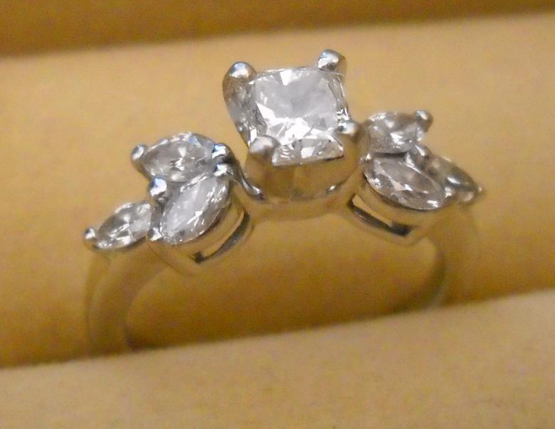 Beautiful Radiant Cut Diamond Solitaire With Accents, 14k