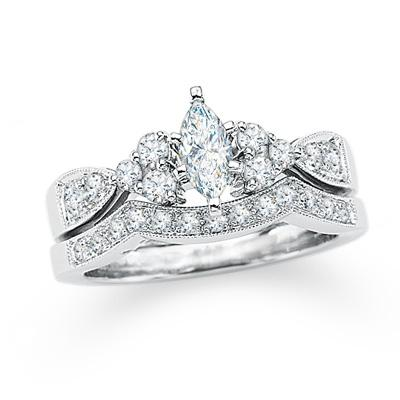 marquise diamond bridal engagement set in 14k white gold i do now i dont - Zales Wedding Rings On Sale