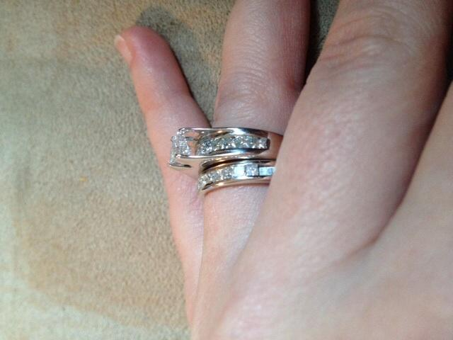2ct Engagement and Wedding Band Set RARE Fire Over Ice Line I Do