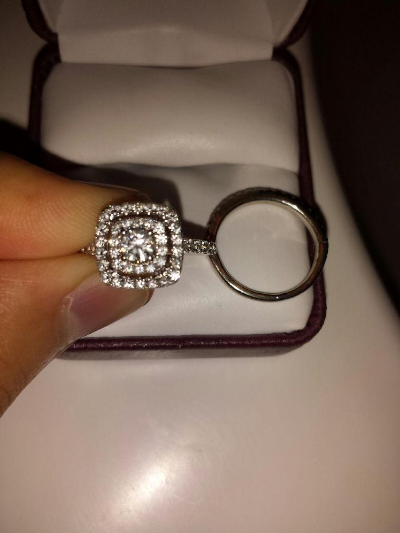Helzberg Diamonds 18k 1 Ctw Round Ideal Cut Double Halo Engagement Bridal  Set Rings  I Do Now I Don't