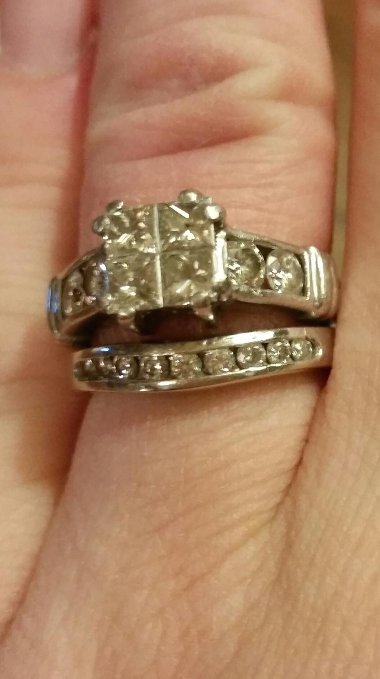 Lady s Platinum Diamond Ring and 14K White Gold Band Appraised at $7 000