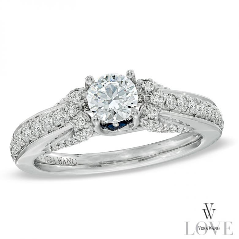 vera wang love collection 1 ct tw diamond engagement ring in 14k white gold and 12 ct tw diamond three row anniversary band in 14k white gold i do - Vera Wang Wedding Ring