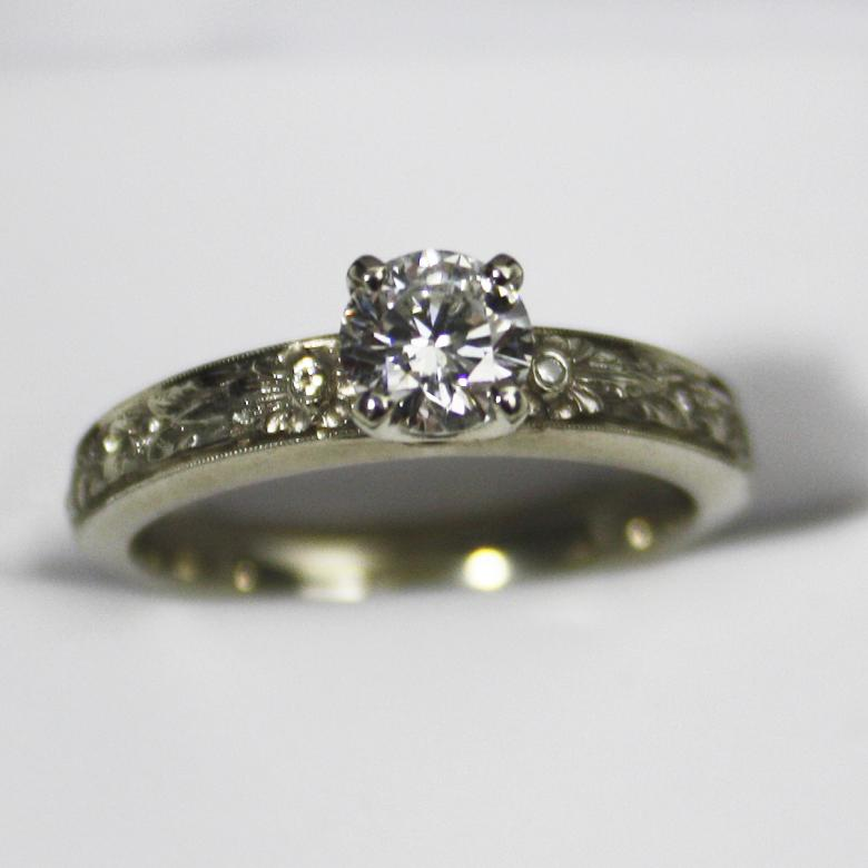 Van Craeynest Engagement Ring Hand Tooled Band 62 Diamond With Six Smaller Stones Reduced Price I Do Now Don T